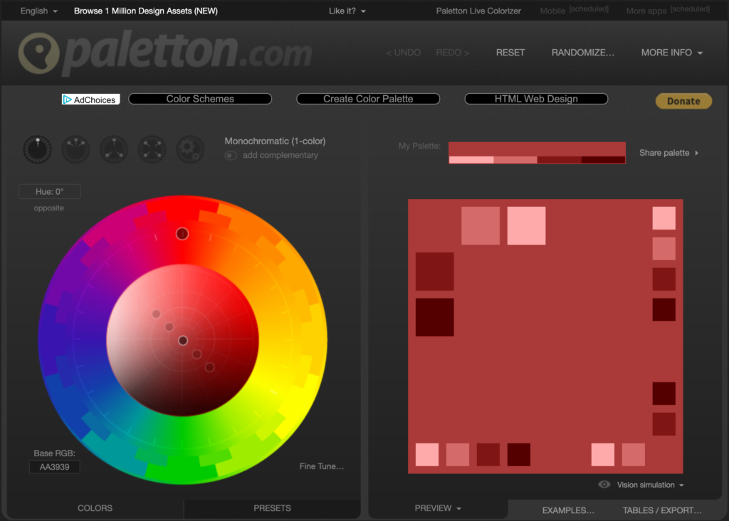 paletton.com screenshot